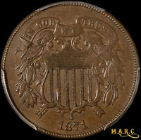 1871 MINT STATE 62BN PCGS 2C TWO CENT PIECE WITH  DETAILS, EVEN COLOR SHIPS FREE