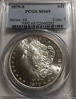 1879-S  MORGAN $1 PCGS MINT STATE 65 BRIGHT WHITE COIN WITH TONING ON REVERSE AT BOTTOM