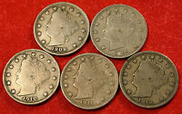 1908 09 10 11 12 LIBERTY V NICKEL F  QUALITY COLLECTOR  5 COINS LN380