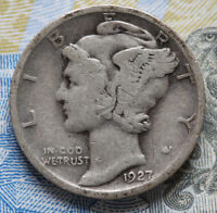 1927  WINGED LIBERTY HEADMERCURY DIME    SILVER