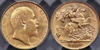 GREAT BRITAIN, 1907 HALF SOVEREIGN - PCGS MINT STATE 63