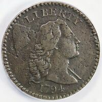 1794 S-50 ANACS VF 35 DETAILS HEAD OF '94 LIBERTY CAP LARGE CENT COIN 1C