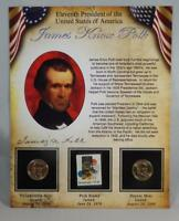 2009 P & D BU JAMES KNOX POLK PRESIDENTIAL DOLLAR $1 SET 2 COINS W/ STAMP CB231
