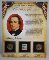 2011 P & D BU ANDREW JOHNSON PRESIDENTIAL DOLLAR $1 SET 2 COINS W/ STAMP CB232
