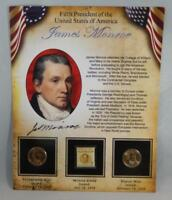 2008 P & D BU JAMES MONROE PRESIDENTIAL DOLLAR $1 SET 2 COINS W/ STAMP CB227