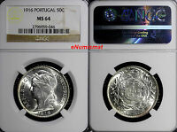 PORTUGAL SILVER 1916 50 CENTAVOS NGC MINT STATE 64 LIBERTY HEAD KM 561