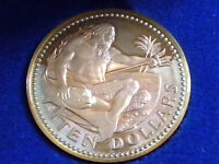 BARBADOS STERLING SILVER PROOF TEN DOLLARS $10  1974 COIN CASED WITH COA AFDC