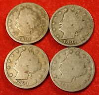 1891 1892 1893 1895 LIBERTY V NICKEL G  DATES COLLECTOR COIN LN315