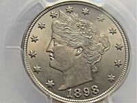 1898 LIBERTY V NICKEL, PCGS MINT STATE 63, OUTSTANDING