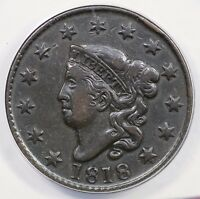 1818 N-6 ANACS EF 40 MATRON OR CORONET HEAD LARGE CENT COIN 1C