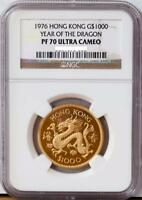 1976 HONG KONG $1000 GOLD DRAGON PROOF COIN NGC PF70 PERFECT GRADE