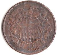 1868 TWO CENT PIECE. F. TO X.F.