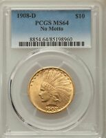 1908 D $10 NO MOTTO INDIAN EAGLES PCGS MS64