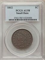 1812 SMALL DATE BN LARGE CENTS PCGS AU58