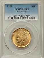 1907 $10 NO MOTTO INDIAN EAGLES PCGS MS65