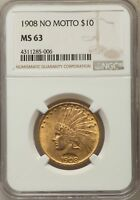 1908 $10 NO MOTTO INDIAN EAGLES NGC MS63