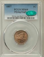 1857 1C FLYING EAGLE MS CAC FLYING EAGLE CENTS PCGS MS64