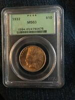 1932 $10 INDIAN HEAD GOLD COIN PCGS MS63 OLD GREEN HOLDER