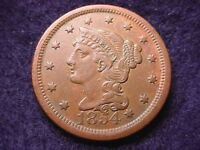 1854 BRAIDED HAIR LARGE CENT GORGEOUS BROWN AU COIN---SHIPS FREE   99
