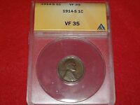1914 S LINCOLN WHEAT CENT ANACS VF35 PLEASING SURFACES & COLOR BETTER DATE 1C