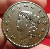 1825 CORONET HEAD LARGE CENT  FINE N-6 VARIETY BETTER DATE 1C