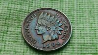 1904 1C BN INDIAN CENT, AU/UNC AWESOME OLD US  COIN. 0299