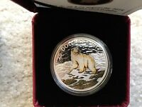 2014 CANADA   ICONIC POLAR BEAR 1OZ COLORIZED SILVER PROOF COIN