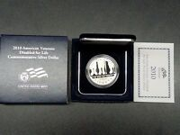 2010 US MINT AMERICAN VETERANS DISABLED COMMEMORATIVE SILVER DOLLAR   PROOF