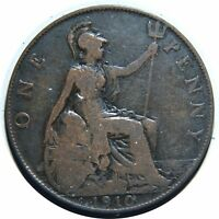 GREAT BRITAIN ONE PENNY 1910 KING EDWARD VII BRONZE B62