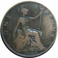 GREAT BRITAIN ONE PENNY 1908 KING EDWARD VII BRONZE B34