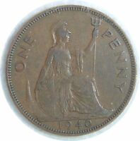 GREAT BRITAIN ONE PENNY 1940 KING GEORGE VI BRONZE D67