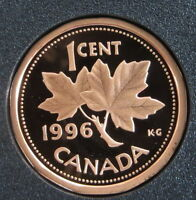 1996 CANADA 1 CENT BRONZE PENNY   MAPLE LEAF   PROOF  MINT CONDITION