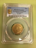 PCGS 1901 GOLD SOVEREIGN  NEWLY GRADED GENUINE VF DETAIL NO