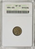 1854 SILVER THREE CENT PIECE ANACS XF45  OLD SOAP BAR HOLDER