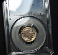 1913 TYPE 2 VARIETY TWO BUFFALO INDIAN HEAD NICKEL TONED TONING COLOR PCGS AU55