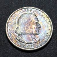 1893 COLUMBIAN EXPOSITION SILVER COMMEMORATIVE HALF DOLLAR TONING TONED COLOR