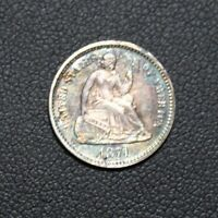 1871 SEATED LIBERTY SILVER HALF DIME TONING TONED COLOR  PRICE REDUCED