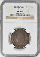 1814 CLASSIC HEAD LARGE CENT NGC AG03 S 295