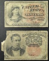 LOT OF TWO FRACTIONAL NOTES   FOURTH & FIFTH ISSUE TEN CENT NOTES   2 NOTES