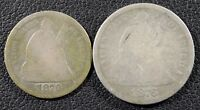 1870 SEATED LIBERTY SILVER HALF DIME & 1876 SEATED DIME   LOT OF 2 COINS