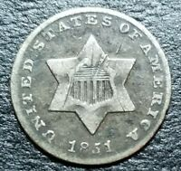 1851 3C CENT SILVER