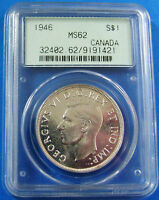 1946 MS 62 CANADA SILVER DOLLAR PCGS CERTIFIED CANADIAN $1 C