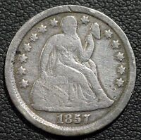 1857 SEATED LIBERTY SILVER DIME   REVERSE DAMAGE