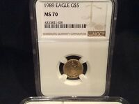1989 $5 AMERICAN GOLD EAGLE NGC MS 70