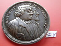 GERMANY 1730 SILVER MEDAL REFORMATION MARTIN LUTHER AUGSBURG CONFESSION / BROOCH