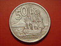 1975 NEW ZEALAND 50 CENTS BOAT COIN ENDEAVOUR SHIP COIN