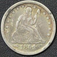 1854 SEATED LIBERTY SILVER QUARTER