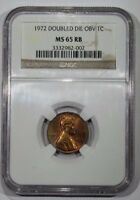 1972 DDO DIE1 LINCOLN CENT NGC MS65 RB   DOUBLED DIE   UNCIRCULATED  DOUBLE DIE