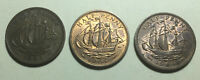 COMBO LOT OF 3   GREAT BRITAIN  UK  1964 HALF PENNY COINS
