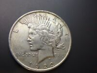 1922 P  PEACE DOLLAR   AU  UNC   UNCLEANED       90  SILVER   FAST SHIP   LOT 76